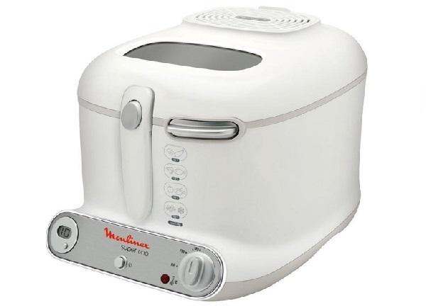 Moulinex AM3021 Fritteuse Super Uno / 1.800 Watt / Timer / wärmeisoliert / 1,5 kg Fassungsvermögen / weiß/hellgrau